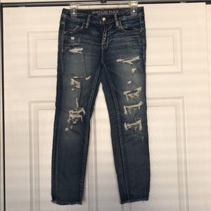 Lightly worn distressed cropped jeans